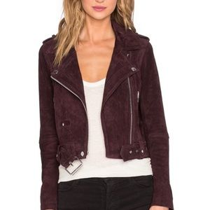 Blank NYC Burgundy suede leather Moto jacket xs 0